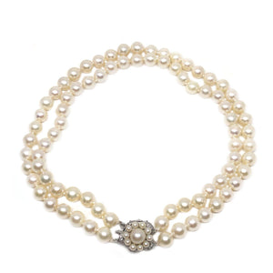 Floral Halo Japanese Saltwater Akoya Cultured Pearl Double Strand Necklace-Sterling Silver