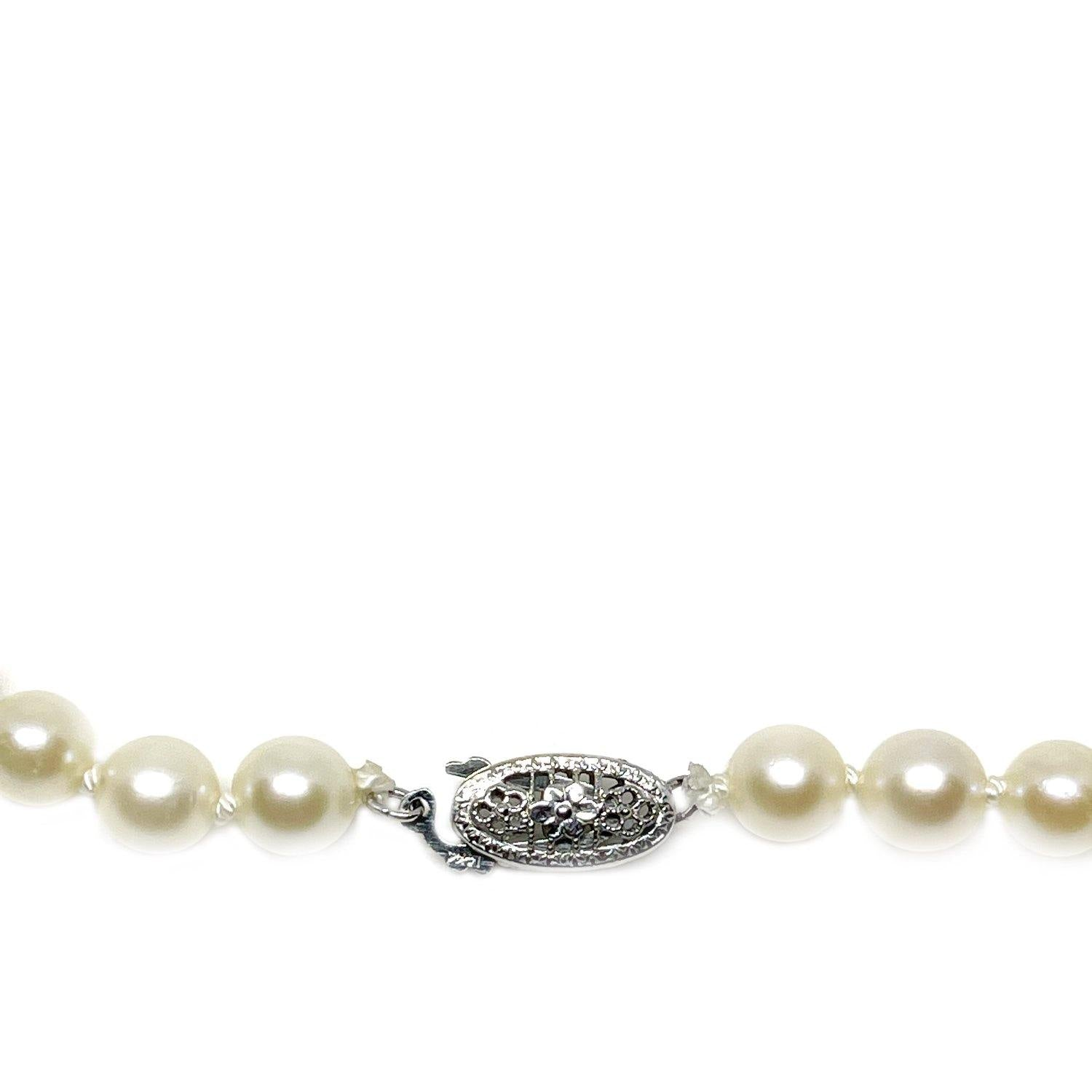 Graduated Blossom Japanese Saltwater Cultured Akoya Pearl Strand - 14K White Gold 15.50 Inch