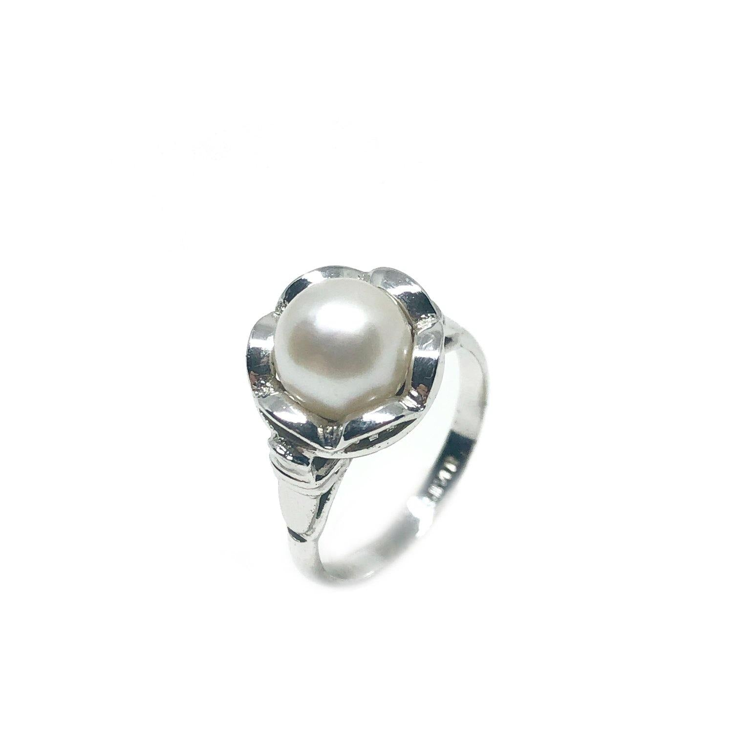 Floral Halo Japanese Saltwater Akoya Cultured Pearl Ring- Sterling Silver Sz 4 1/2 Up
