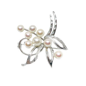 Nouveau Floral Engraved Japanese Akoya Cultured Saltwater Pearl Brooch- Sterling Silver