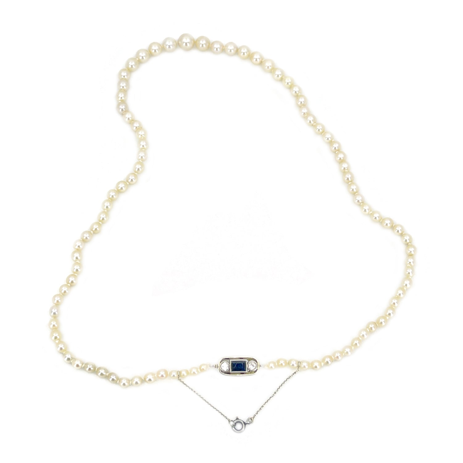 French Art Deco Japanese Cultured Akoya Pearl Spinel Paste Necklace -Sterling Silver 20.50 Inch