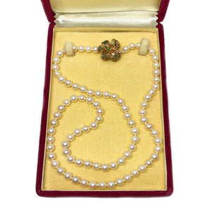 Fuji Pearl Emerald Japanese Cultured Akoya Pearl Strand - 14K Yellow Gold 24 Inch Zoom