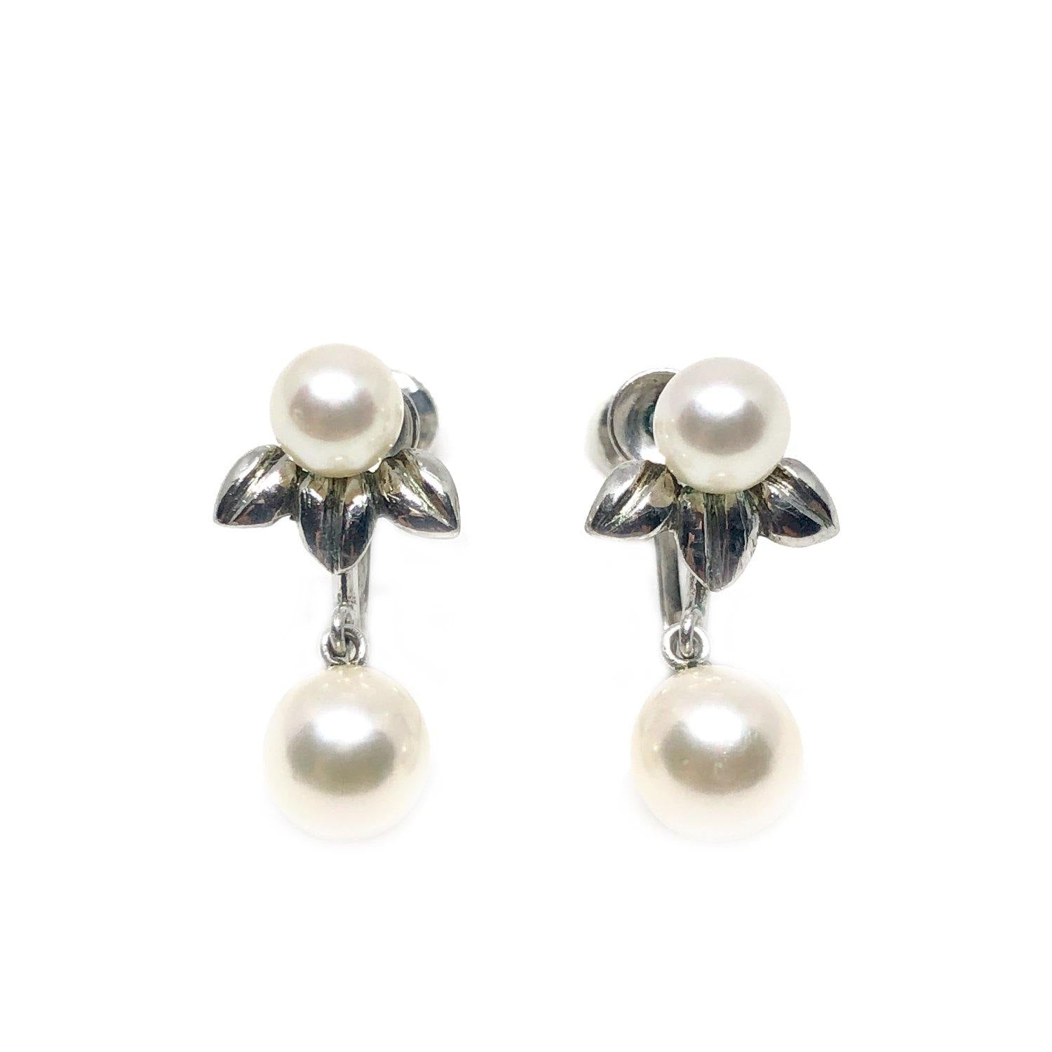 Leaf Fuji Pearl Designer Akoya Saltwater Cultured Pearl Screwback Earrings- Sterling Silver