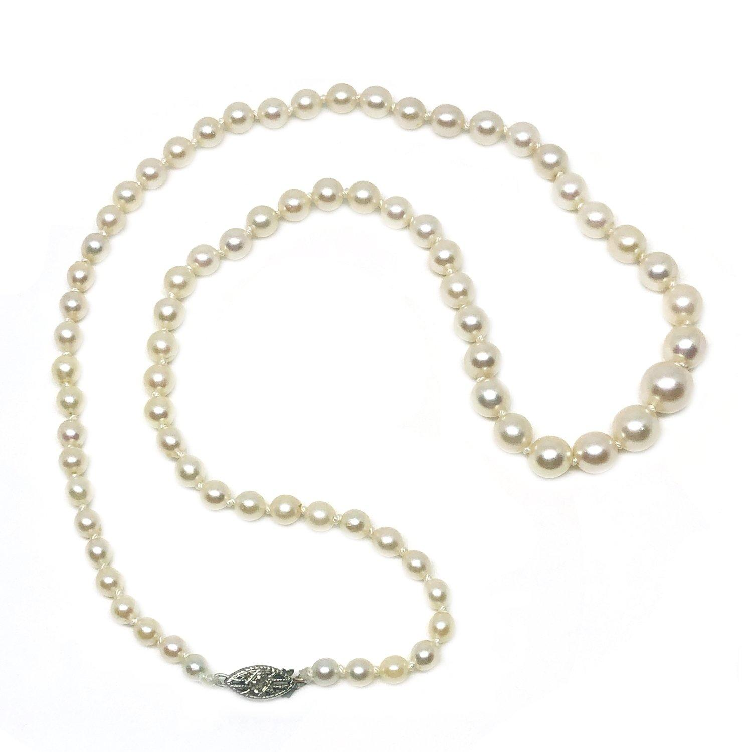 Diamond Graduated Japanese Saltwater Cultured Akoya Pearl Strand - 10K White Gold 18.50 Inch - Vintage Valuable Pearls