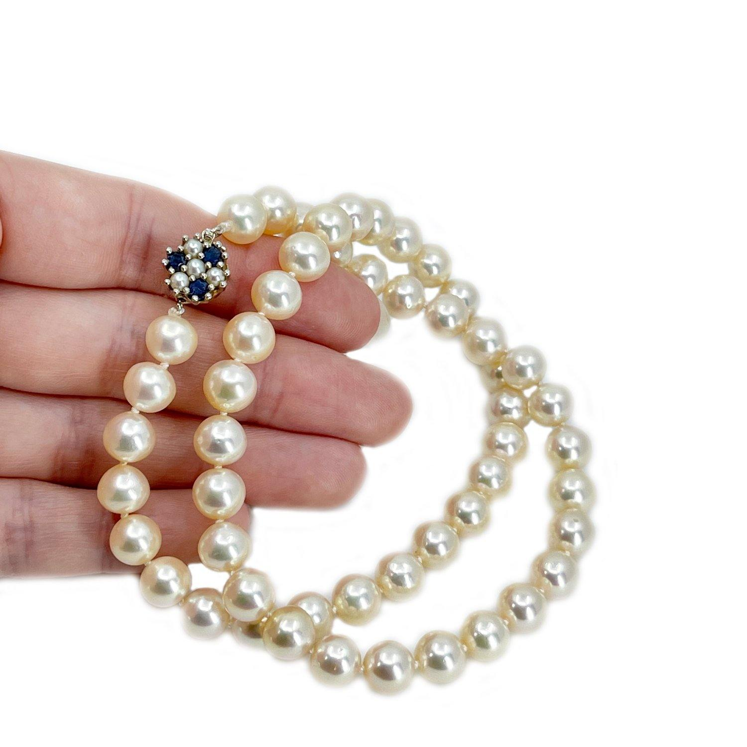 Stunning Retro Cultured Akoya Pearl Strand - 14K White Gold & Natural Blue Sapphire 17.50 Inch