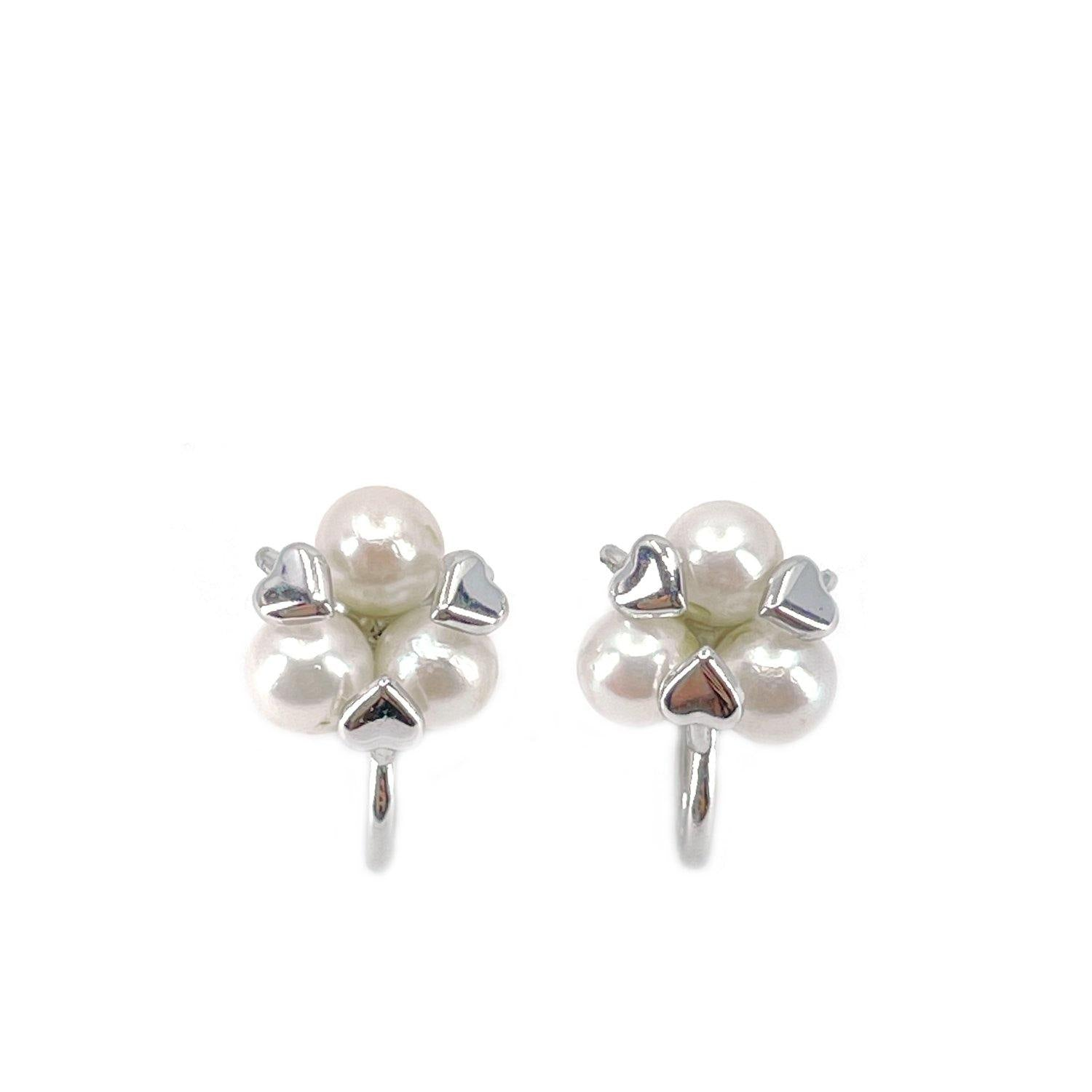 De Curtis Hearts Akoya Saltwater Cultured Pearl Screwback Earrings- Sterling Silver