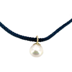 Kumihimo Braided Black Silk Vintage Akoya Saltwater Cultured Pearl Necklace-14K Yellow Gold