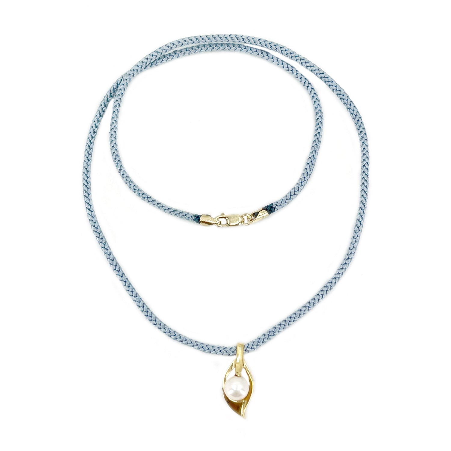 Kumihimo Braided Light Blue Silk Vintage Akoya Saltwater Cultured Pearl Leaf Necklace-14K Yellow Gold