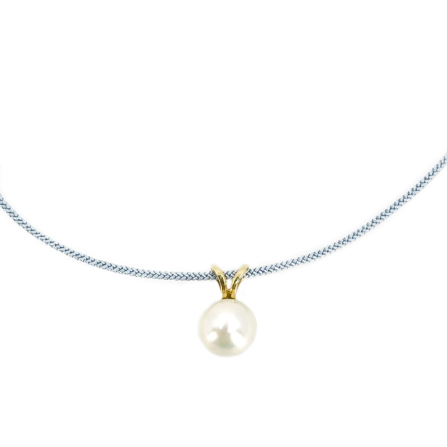 Kumihimo Braided Light Blue Silk Vintage Akoya Saltwater Cultured Pearl Adjustable Necklace-14K Yellow Gold