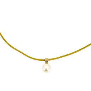 Kumihimo Braided Yellow Ocher Silk Vintage Akoya Saltwater Cultured Pearl Adjustable Modernist Necklace-14K Yellow Gold