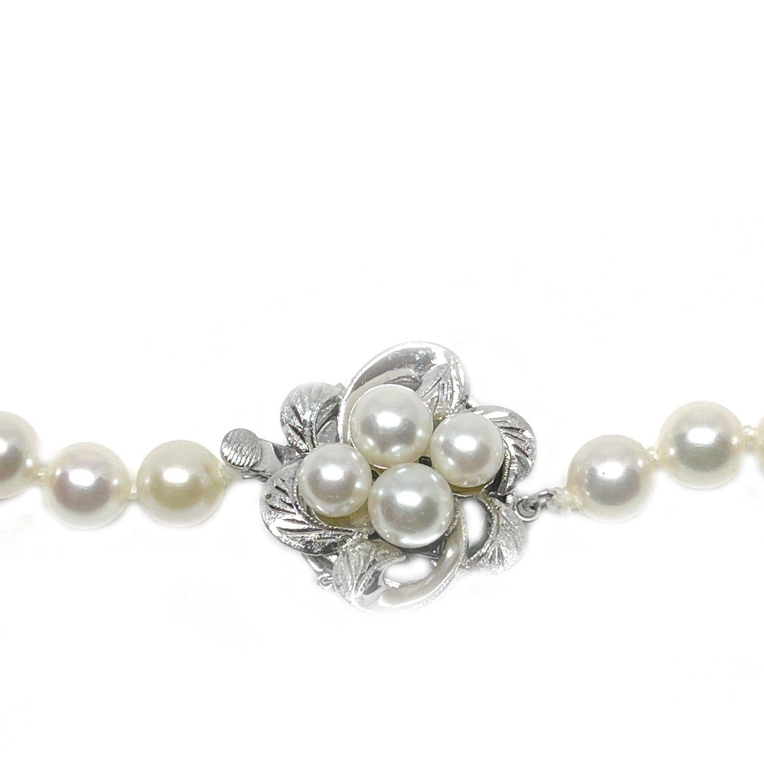 Mid Century Floral Japanese Saltwater Cultured Akoya Pearl Strand - Silver Vintage 16.25 Inch