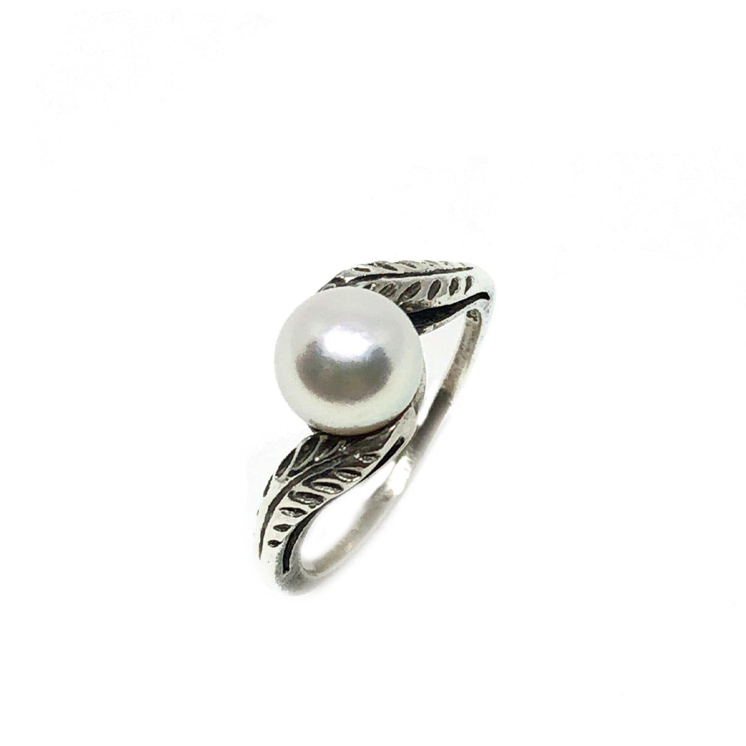 Leaf Japanese Saltwater Cultured Akoya Pearl Ring- Sterling Silver Sz 5