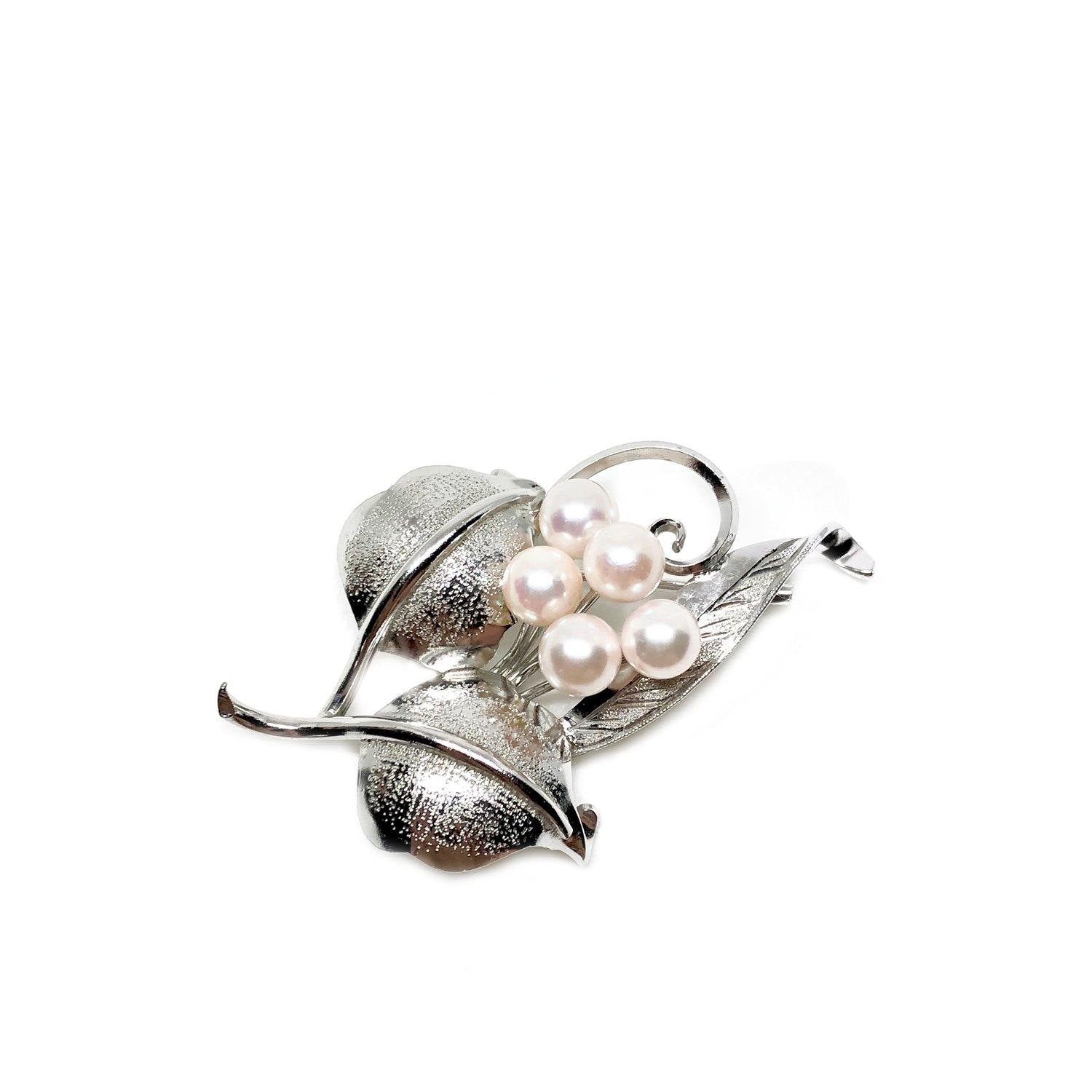 Textured Leaf Japanese Akoya Cultured Saltwater Pearl Brooch- Sterling Silver