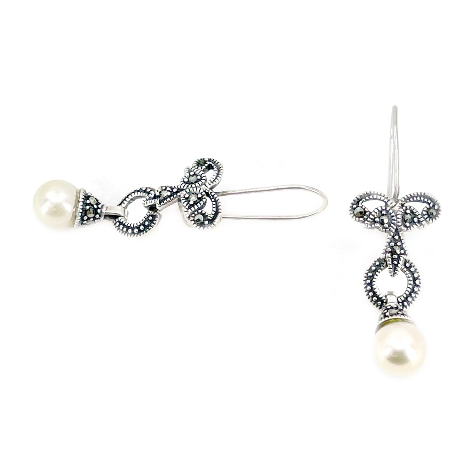 Marcasite Antique Akoya Saltwater Cultured Pearl Pierced Ribbon Drop Earrings- Sterling Silver