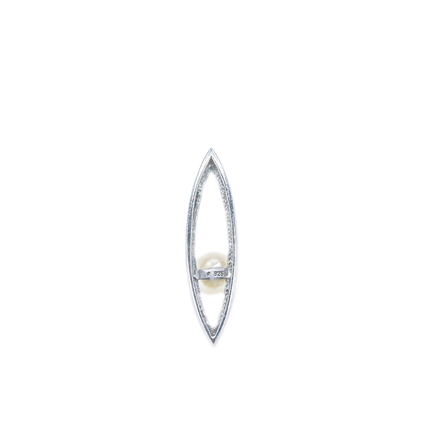 Marquise Japanese Saltwater Cultured Akoya Retro Pendant- Sterling Silver