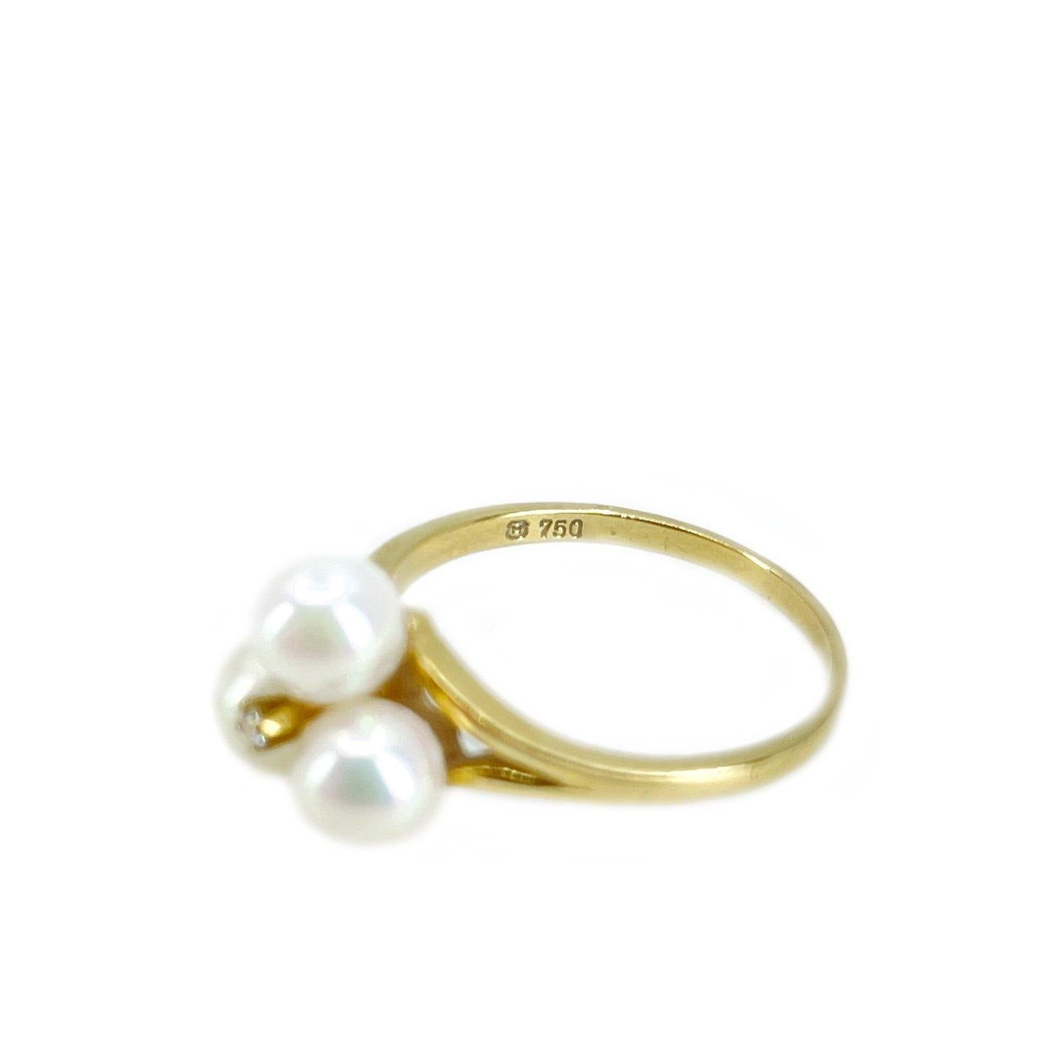 Mikimoto Diamond Cluster Japanese Saltwater Akoya Cultured Pearl Ring- 18K Yellow Gold Sz 6 1/2