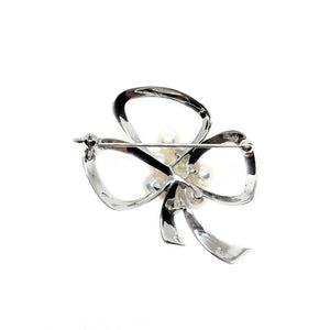 Mikimoto Ribbon Japanese Cultured Saltwater Akoya Pearl Brooch- Sterling Silver