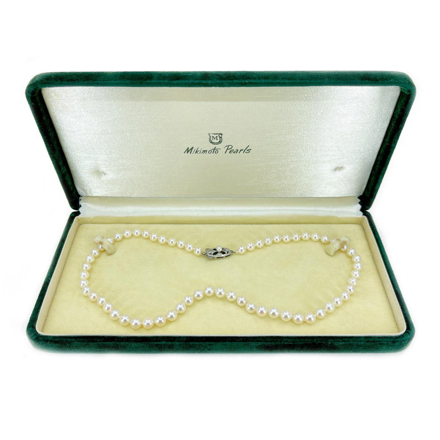 Mikimoto Japanese Cultured Akoya Pearl Strand With Box - Sterling Silver 16 Inch