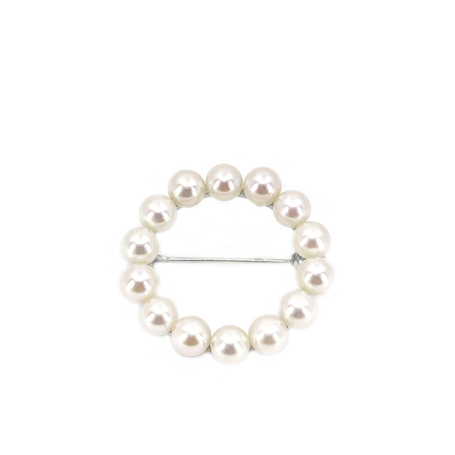 Mikimoto Circle Japanese Cultured Saltwater Akoya Pearl Brooch- Sterling Silver