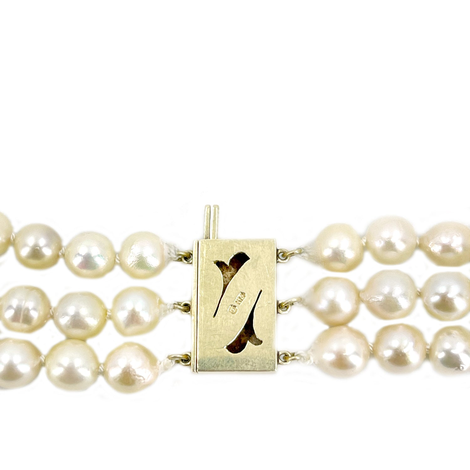 Mikimoto Baroque Japanese Cultured Akoya Pearl Triple Strand - 14K Yellow Gold 16.50-18.50 Inch