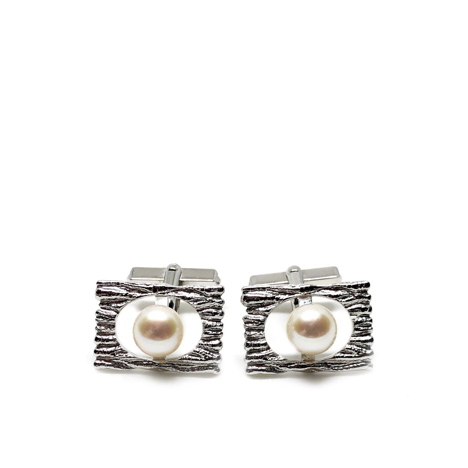 Wood Textured Modernist Japanese Cultured Akoya Pearl Round Cufflinks- Sterling Silver