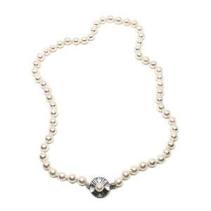 Mid-Century Modern Japanese Saltwater Cultured Akoya Pearl Necklace - Sterling Silver
