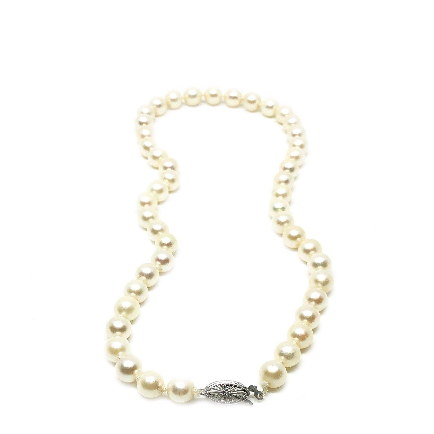 Filigree White Japanese Saltwater Cultured Akoya Pearl Necklace - 14K White Gold 16 Inch