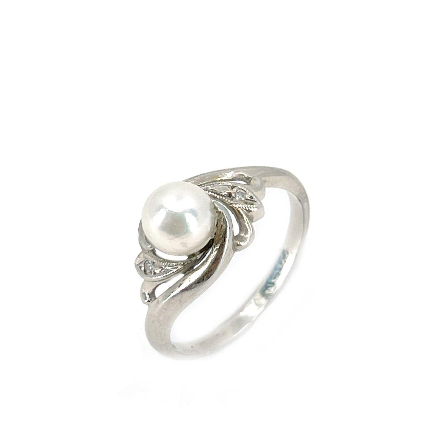 Art Nouveau Japanese Saltwater Akoya Cultured Pearl Diamond Ring- 14K White Gold Size 7 1/2