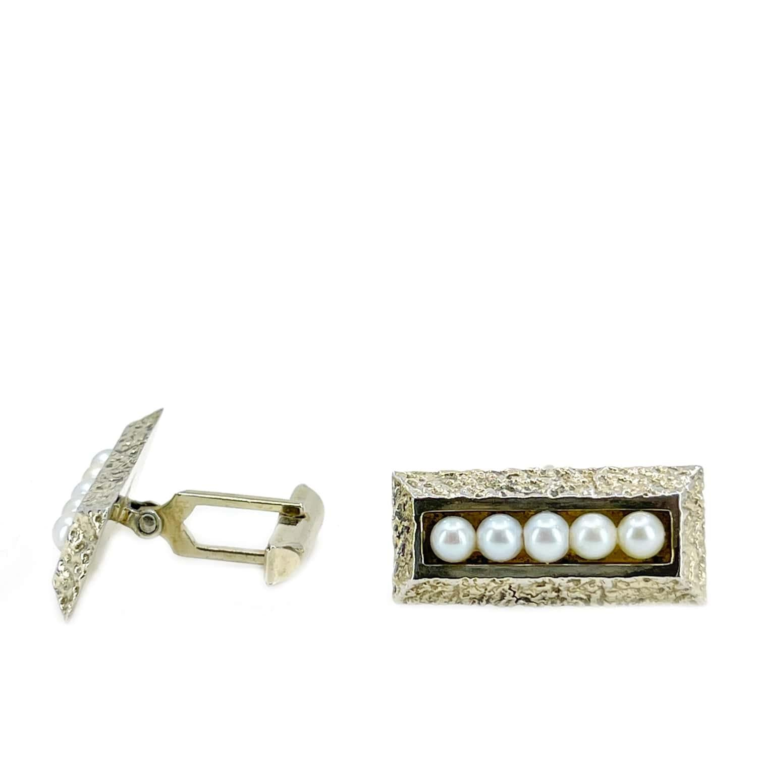 Gold Nugget Mid Century Modern Japanese Akoya Pearl Cufflinks- Sterling Silver