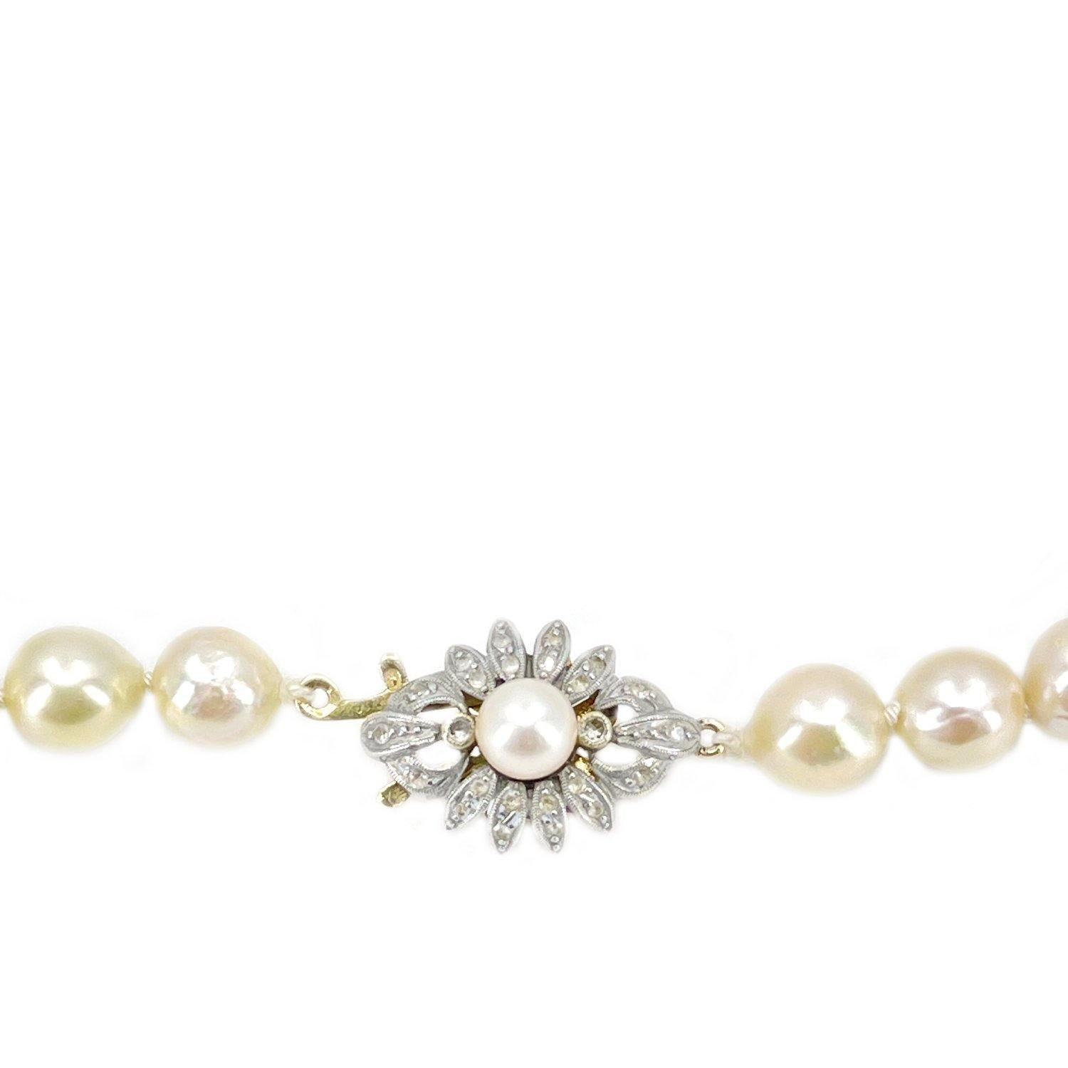 Victorian Star Burst Japanese Saltwater Cultured Akoya Pearl Strand - 14K Yellow Gold Silver 18.50 Inch