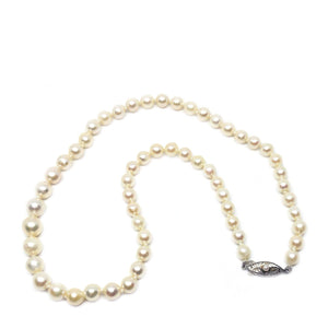 Art Deco Japanese Saltwater Cultured Akoya Pearl Baroque Graduated Necklace - Sterling Silver 18 Inch