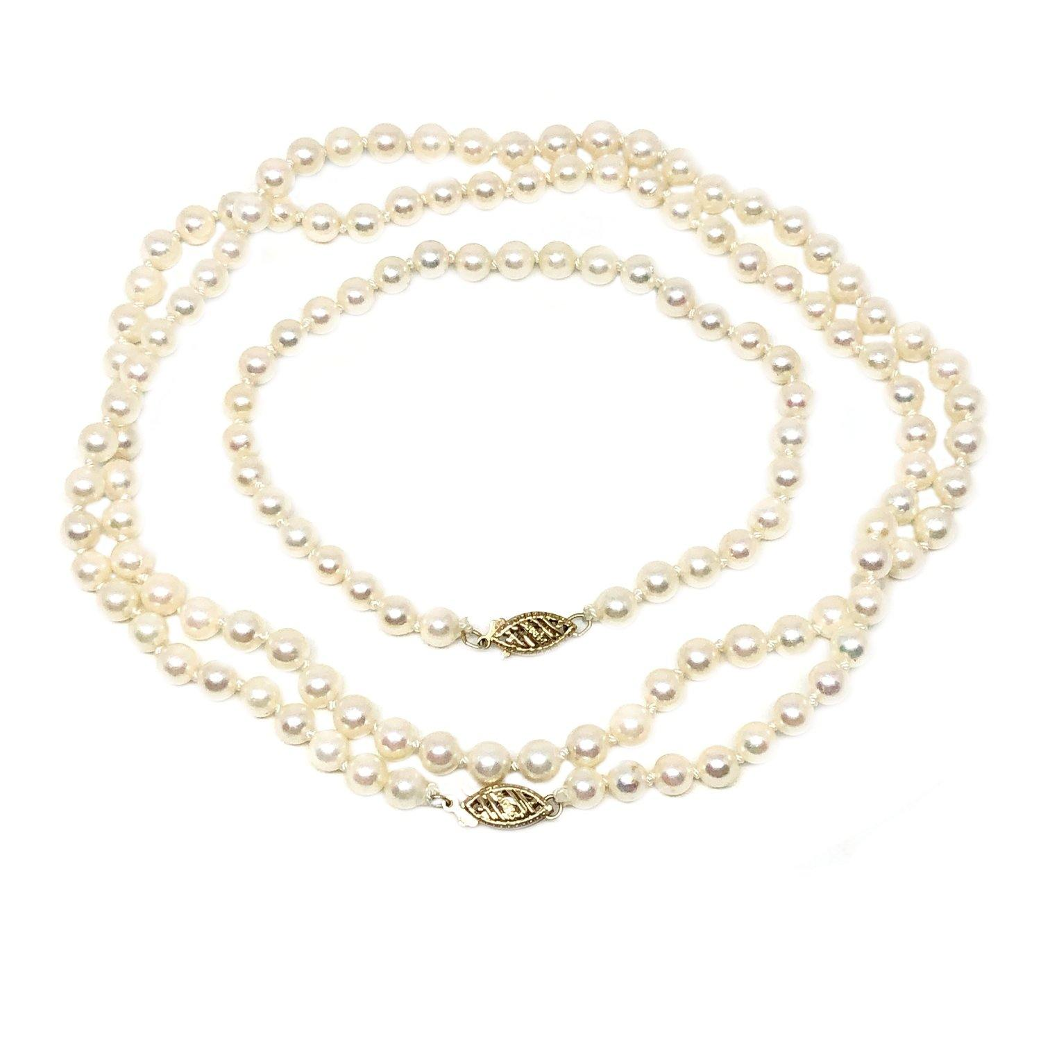 Set Japanese Saltwater Cultured Akoya Pearl Necklace & Bracelet - 14K Yellow Gold 26 Inch