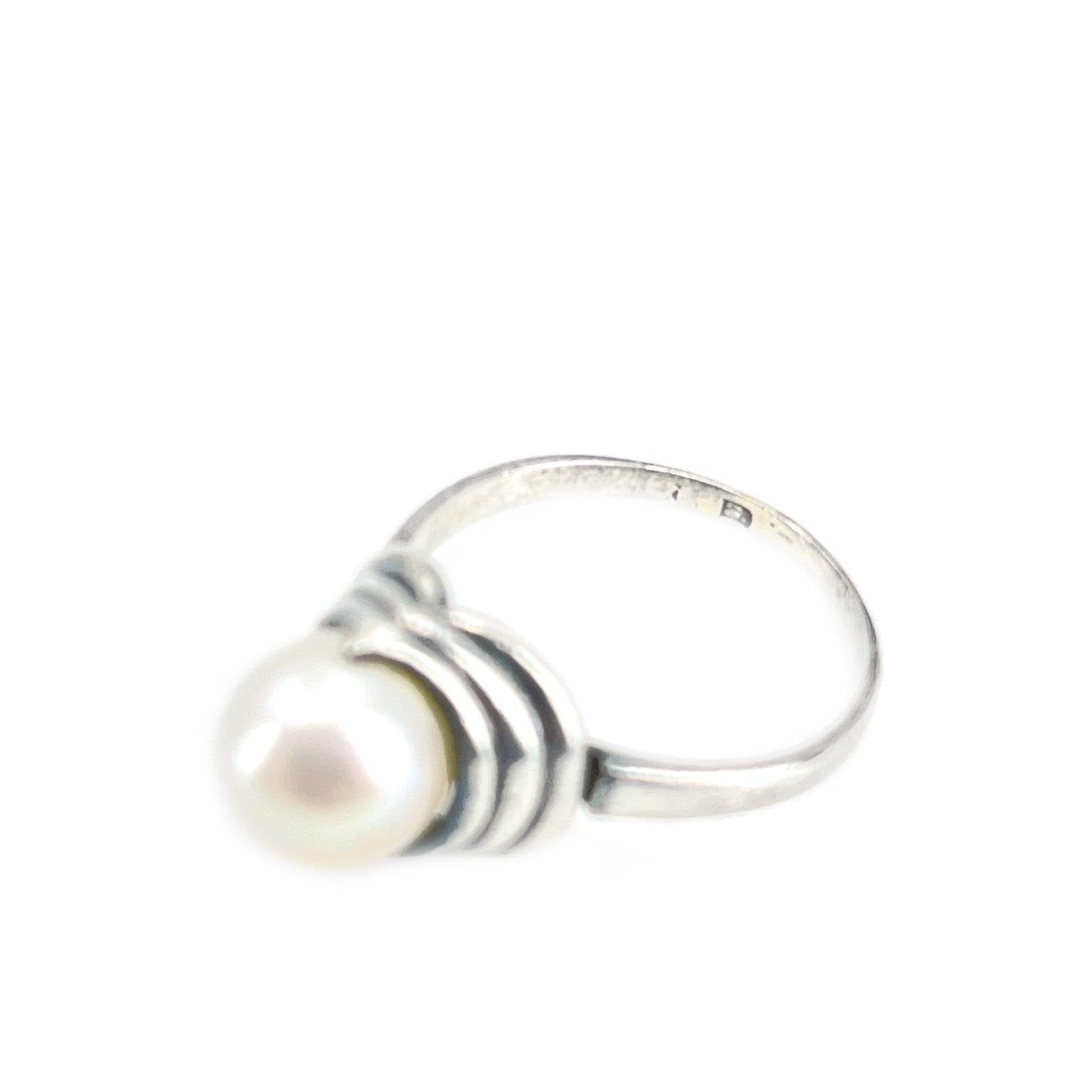 Art Deco Japanese Saltwater Akoya Cultured Pearl Ring- Sterling Silver Sz 5