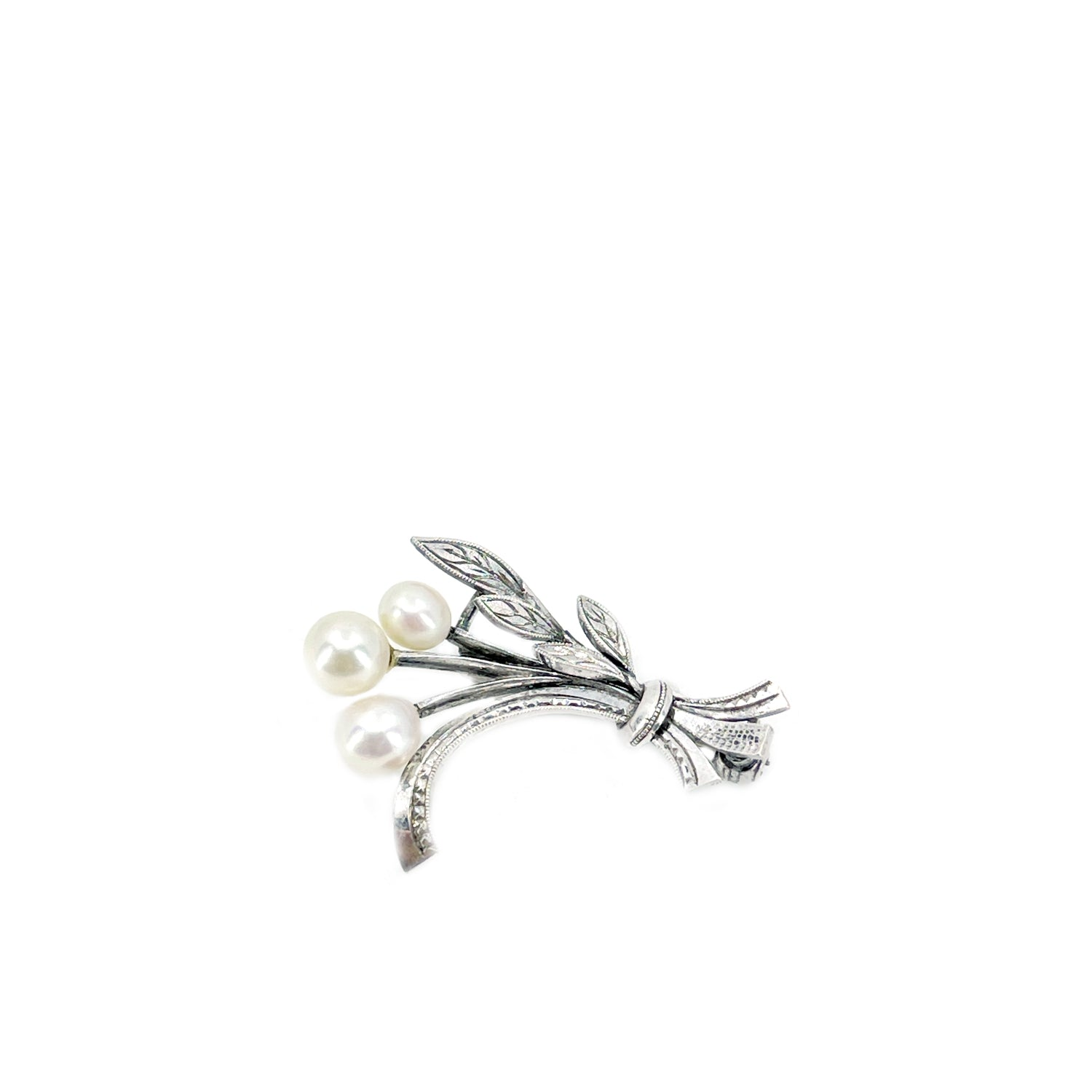 Engraved Spray Branch Japanese Akoya Cultured Saltwater Pearl Brooch- Sterling Silver