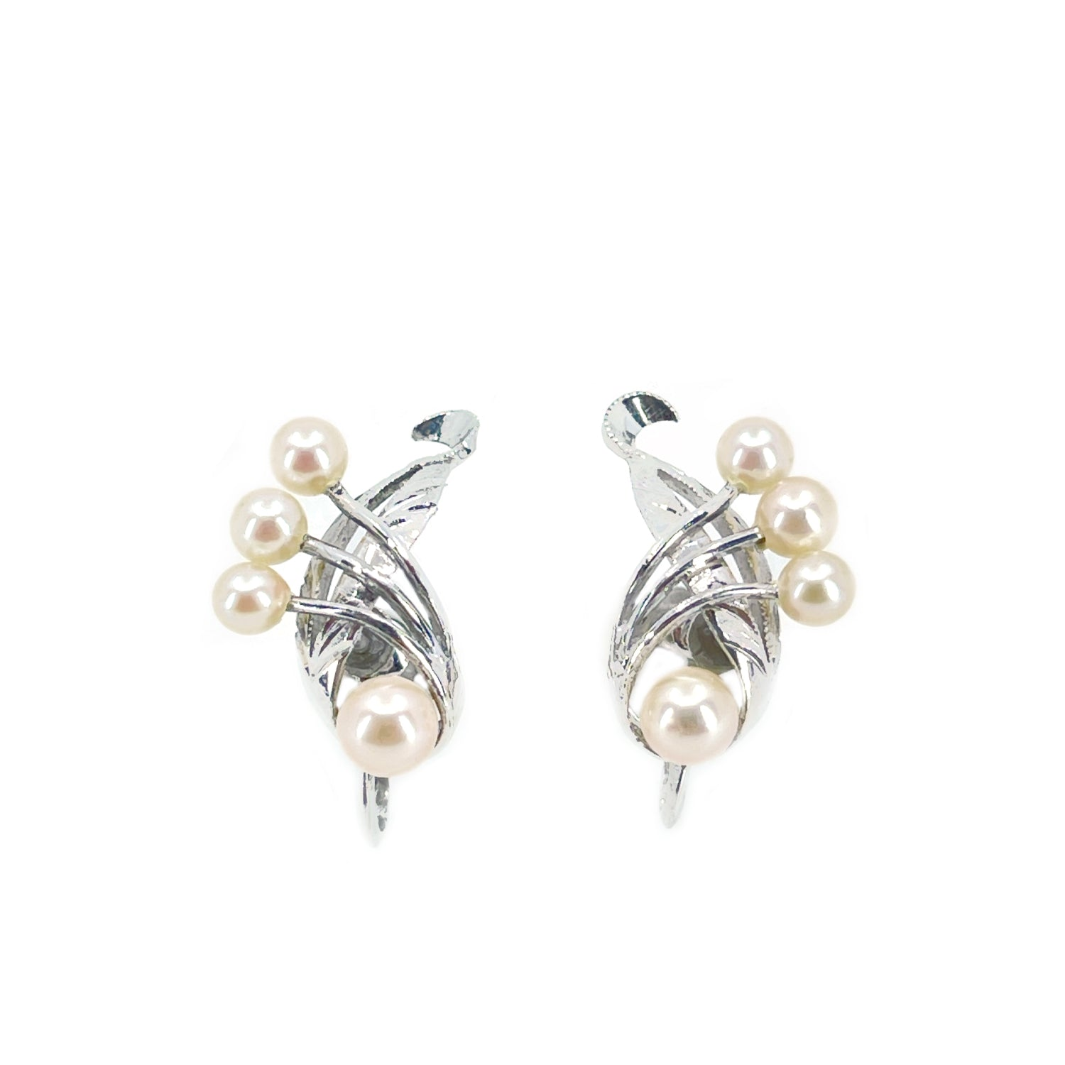Engraved Nouveau Akoya Saltwater Cultured Pearl Spray Screwback Earrings- Sterling Silver