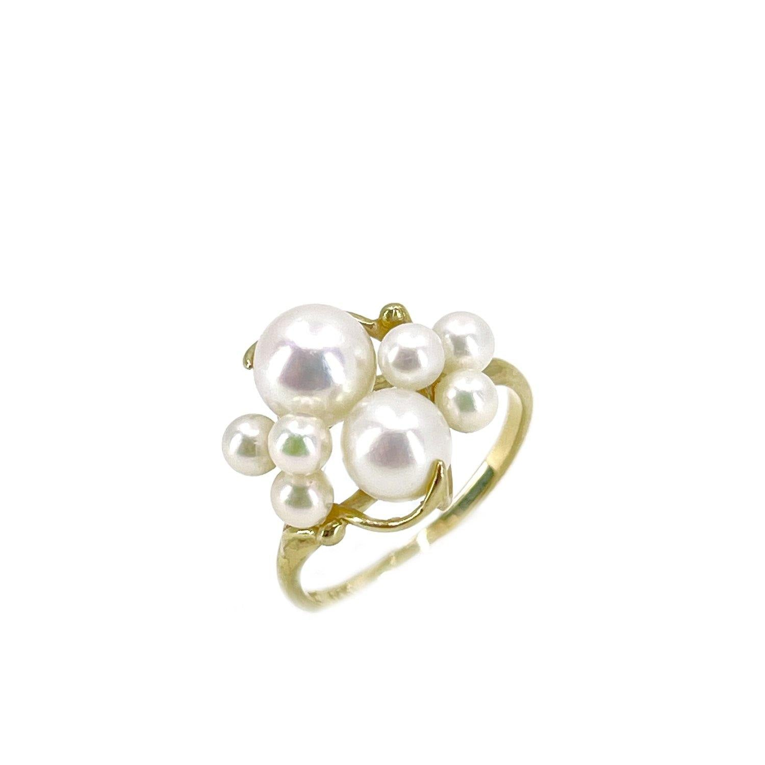 Na Hoku Sultan Cluster Design Japanese Saltwater Akoya Cultured Pearl Ring- 14K Yellow Gold Size 6 1/4
