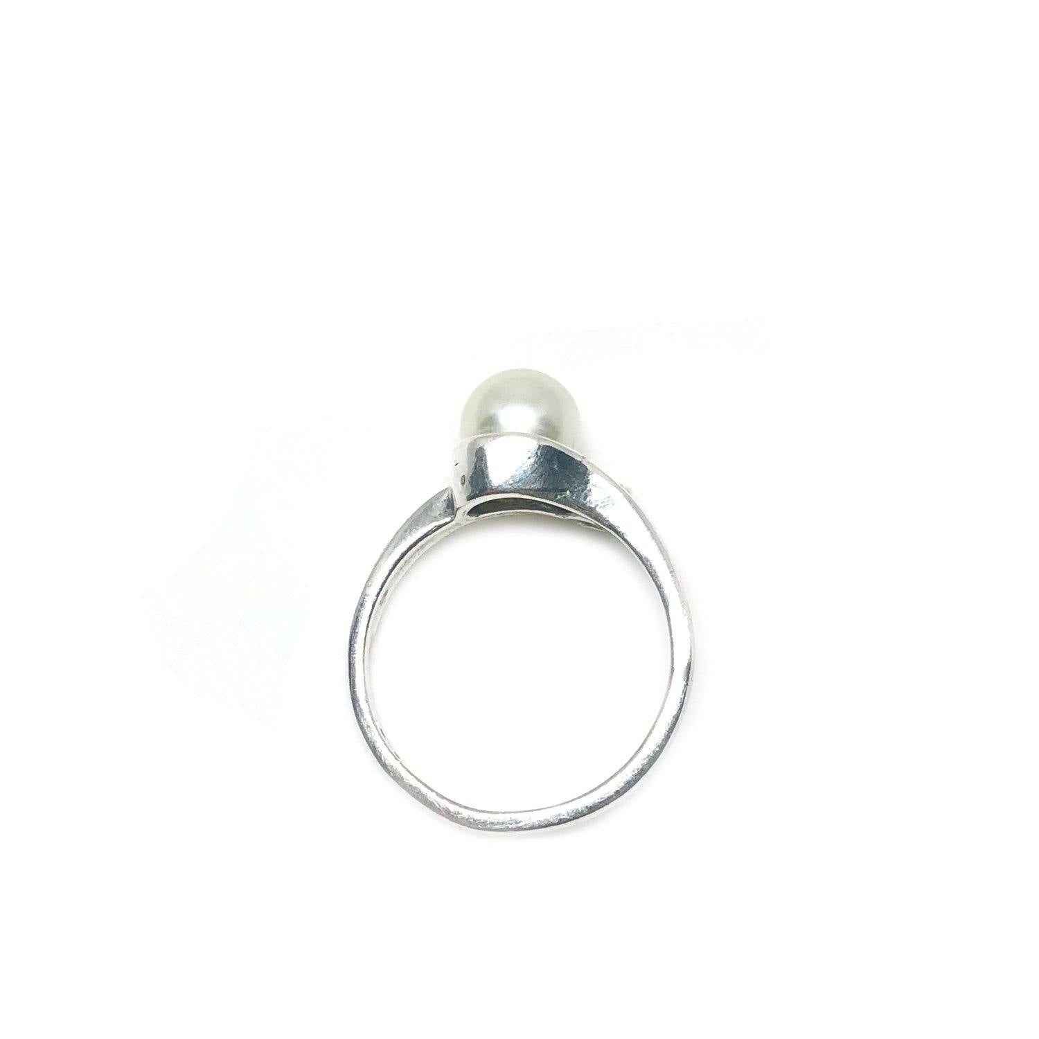 Swirl Japanese Saltwater Akoya Cultured Pearl Ring- Sterling Silver Sz 7 Side