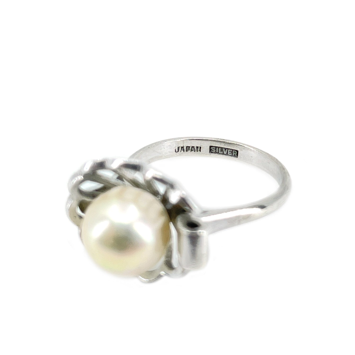 Halo Japanese Saltwater Akoya Cultured Pearl Ring- Sterling Silver Sz 6