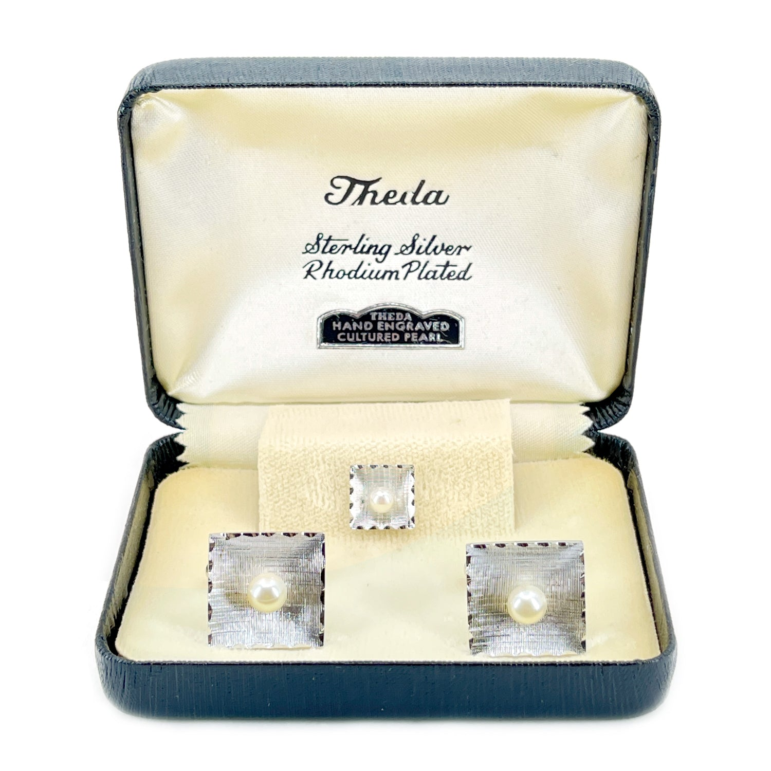 Theda Designer Japanese Cultured Akoya Pearl Square Mid Century Cufflinks Tie Tac- Sterling Silver