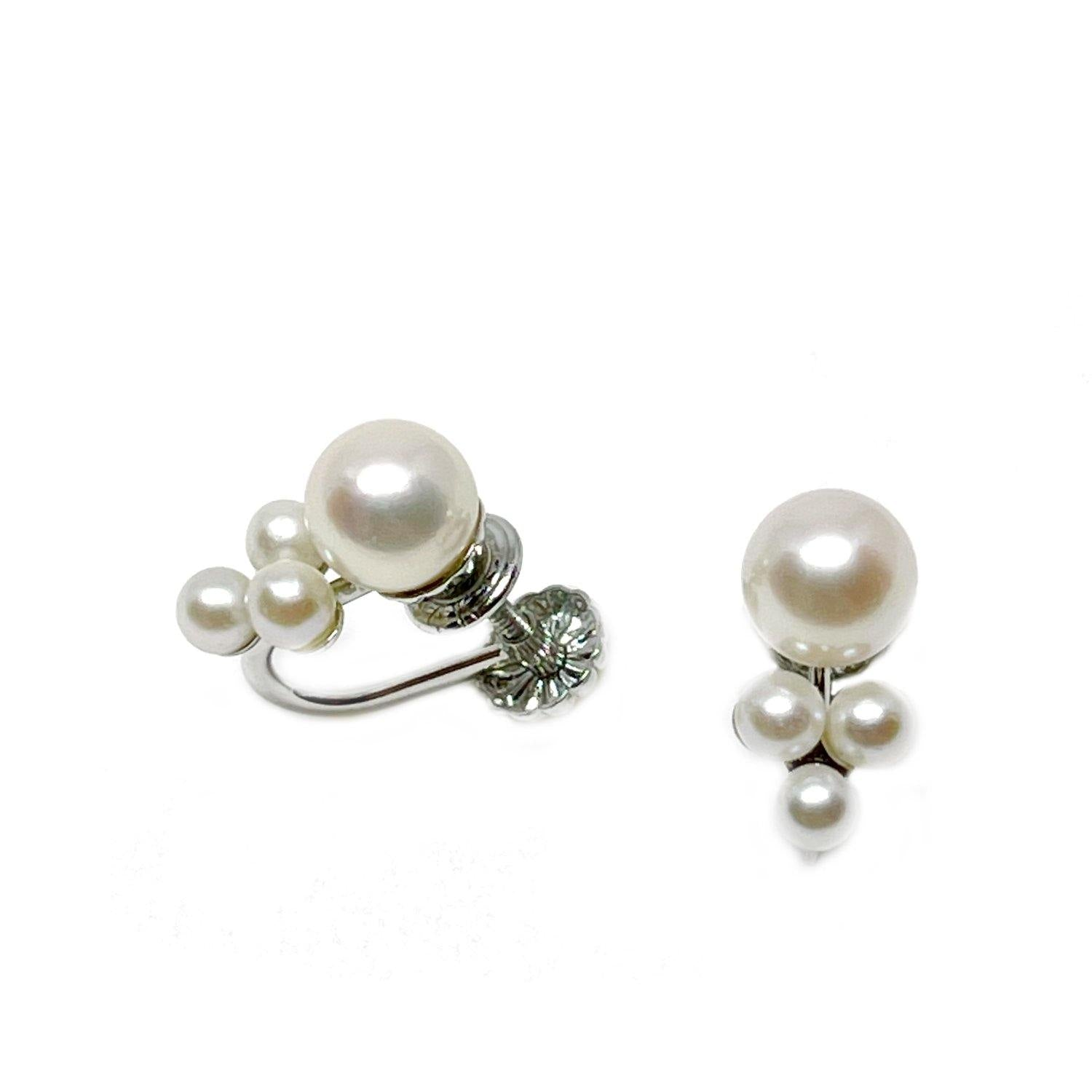 Serenade Akoya Saltwater Cultured Seed Pearl Screwback Earrings- 14K White Gold