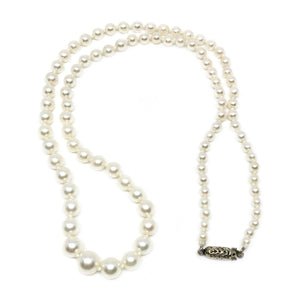 Antique Graduated Japanese Saltwater Cultured Akoya Pearl Strand - 14K White Gold 19.50 Inch