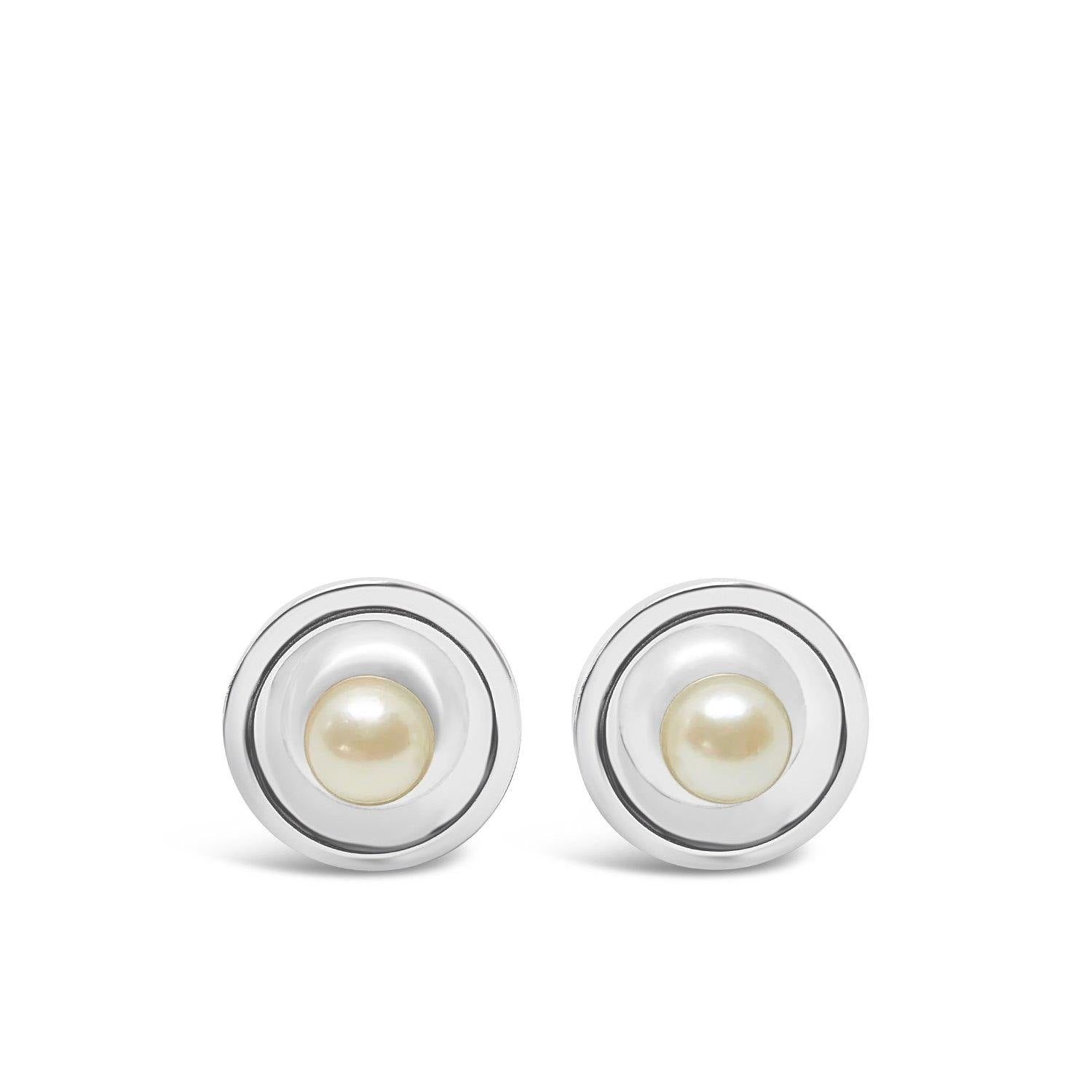 Modernist Japanese Cultured Akoya Pearl Round Cufflinks- Sterling Silver