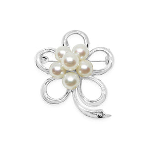 Floral Japanese Akoya Cultured Saltwater Pearl Pendant Brooch- Sterling Silver