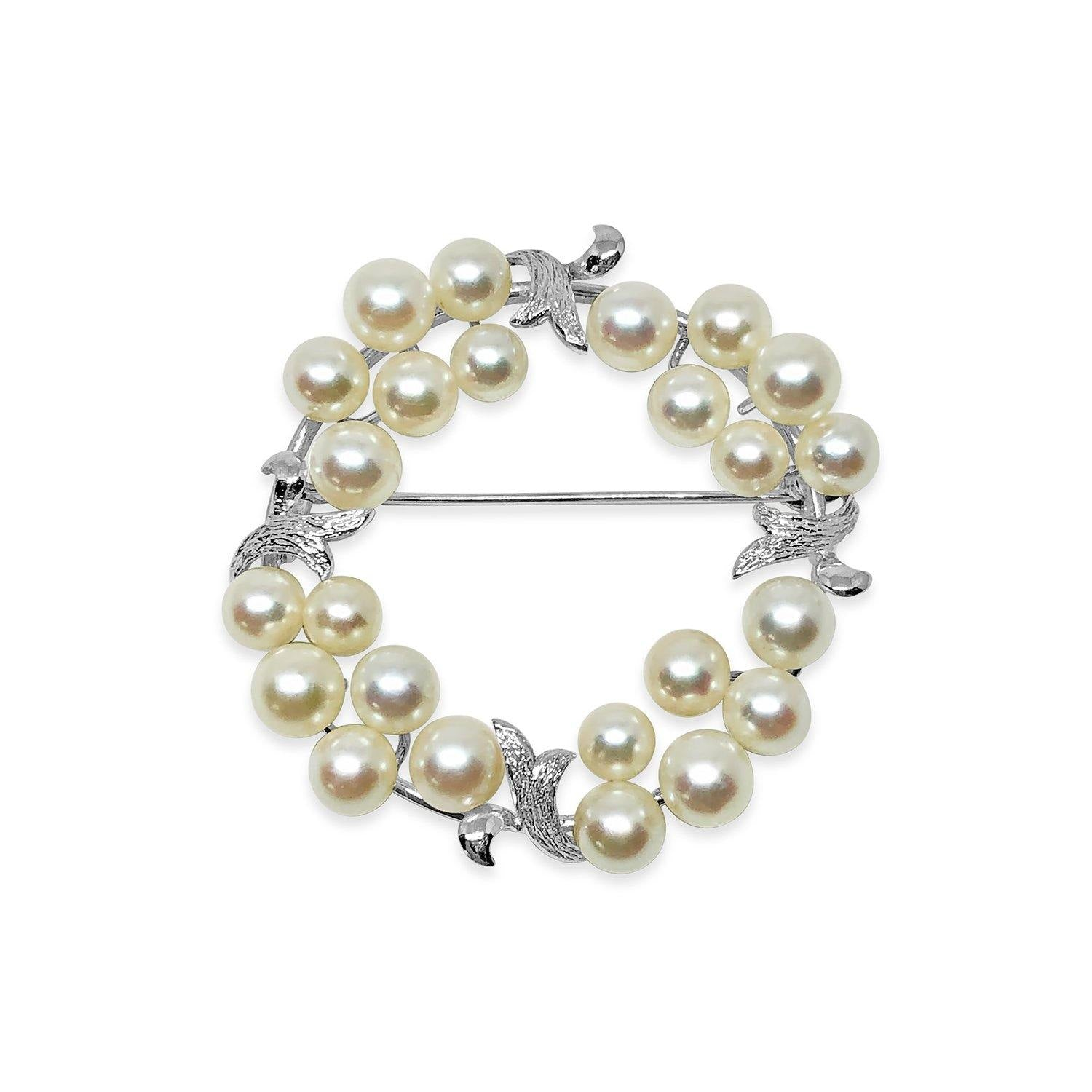 Circle Wreath Leaf Brooch Japanese Saltwater Cultured Akoya Pearl Brooch- Sterling Silver