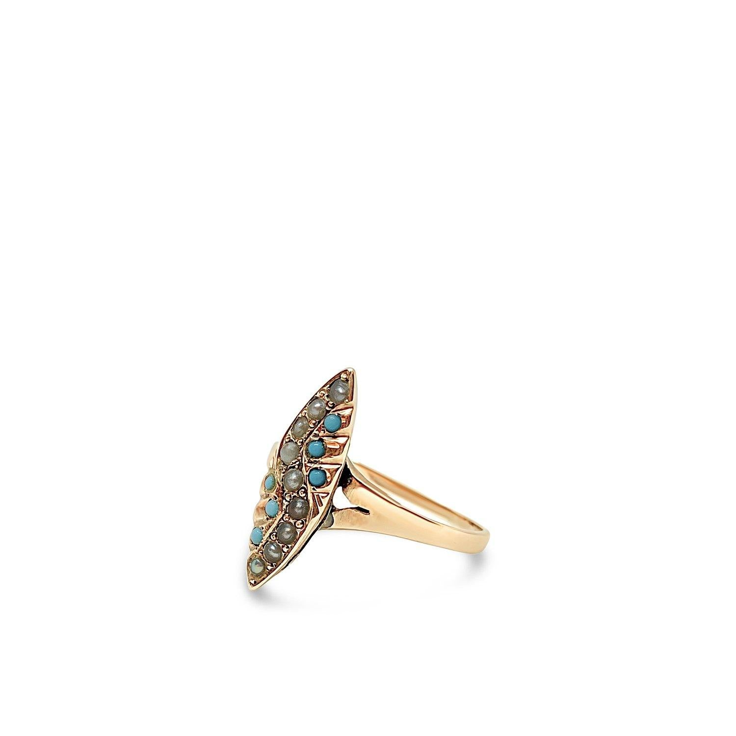 Victorian Navette Seed Pearl & Turquoise Antique Ring- 10K Rose Gold