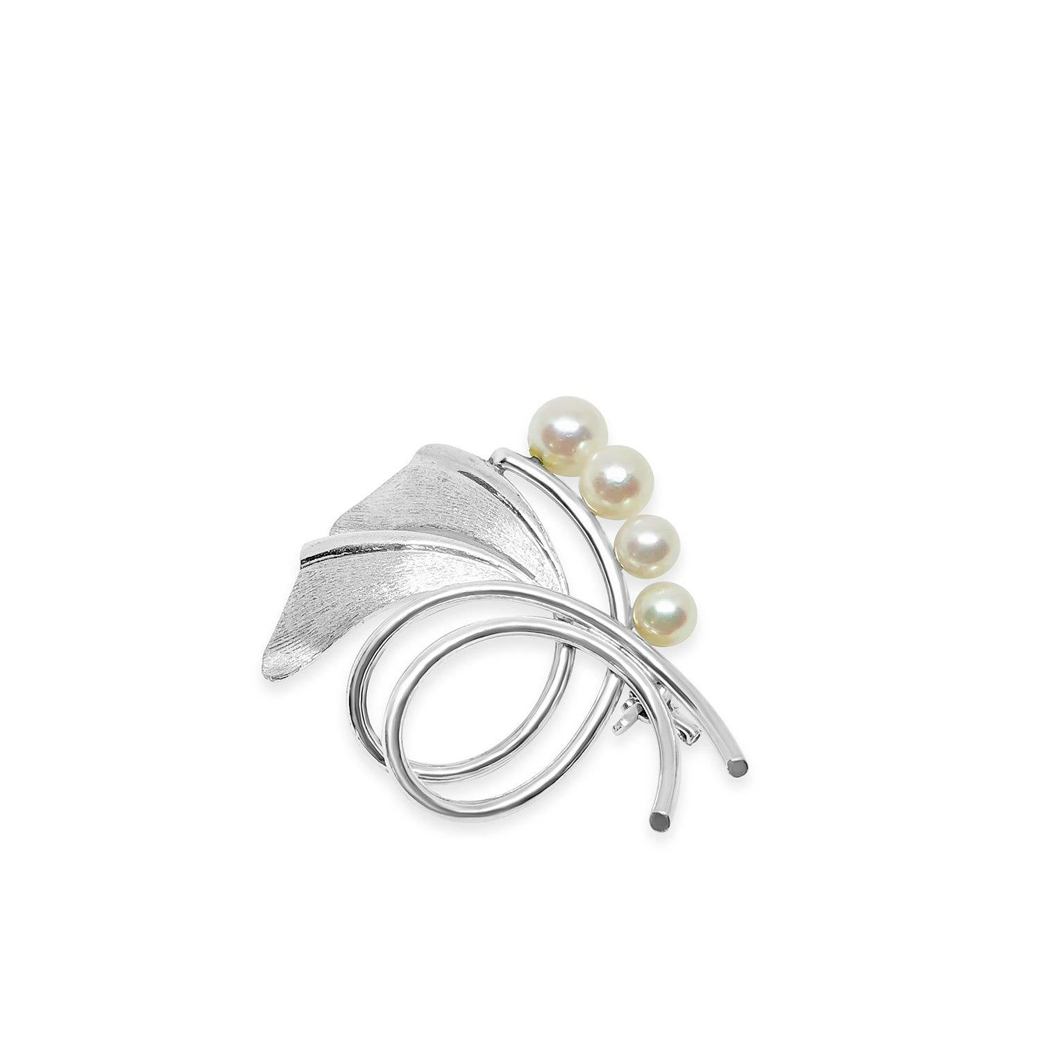 Mikimoto Ginko Leaf Japanese Cultured Saltwater Akoya Pearl Brooch- Sterling Silver