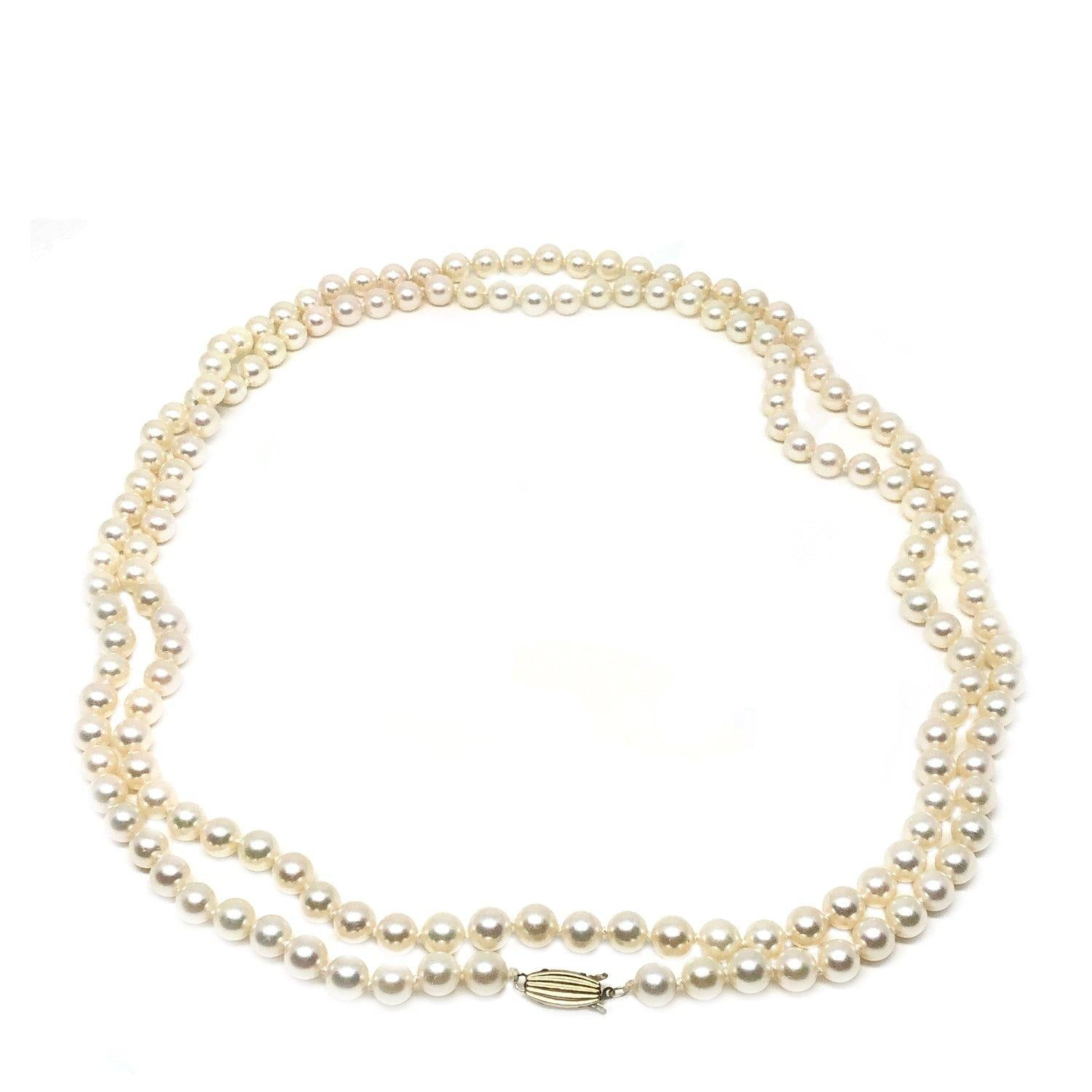 Mikimoto Blue Lagoon Japanese Cultured Akoya Pearl Strand - 14K Yellow Gold 49 Inch