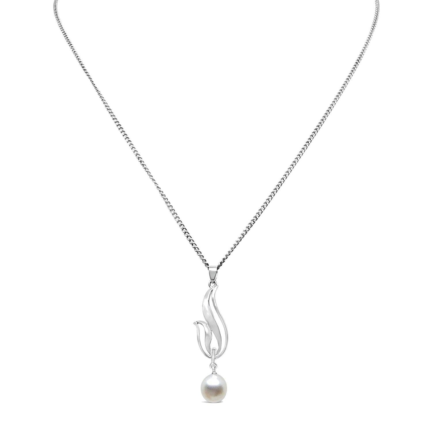 Swirl Mikimoto Saltwater Akoya Cultured Pearl Necklace Designer- Sterling Silver