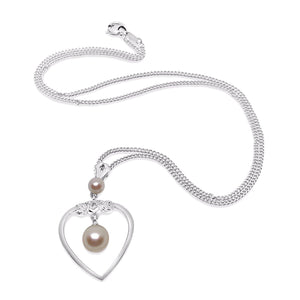 Heart Mikimoto Akoya Pearl Necklace- Sterling Silver