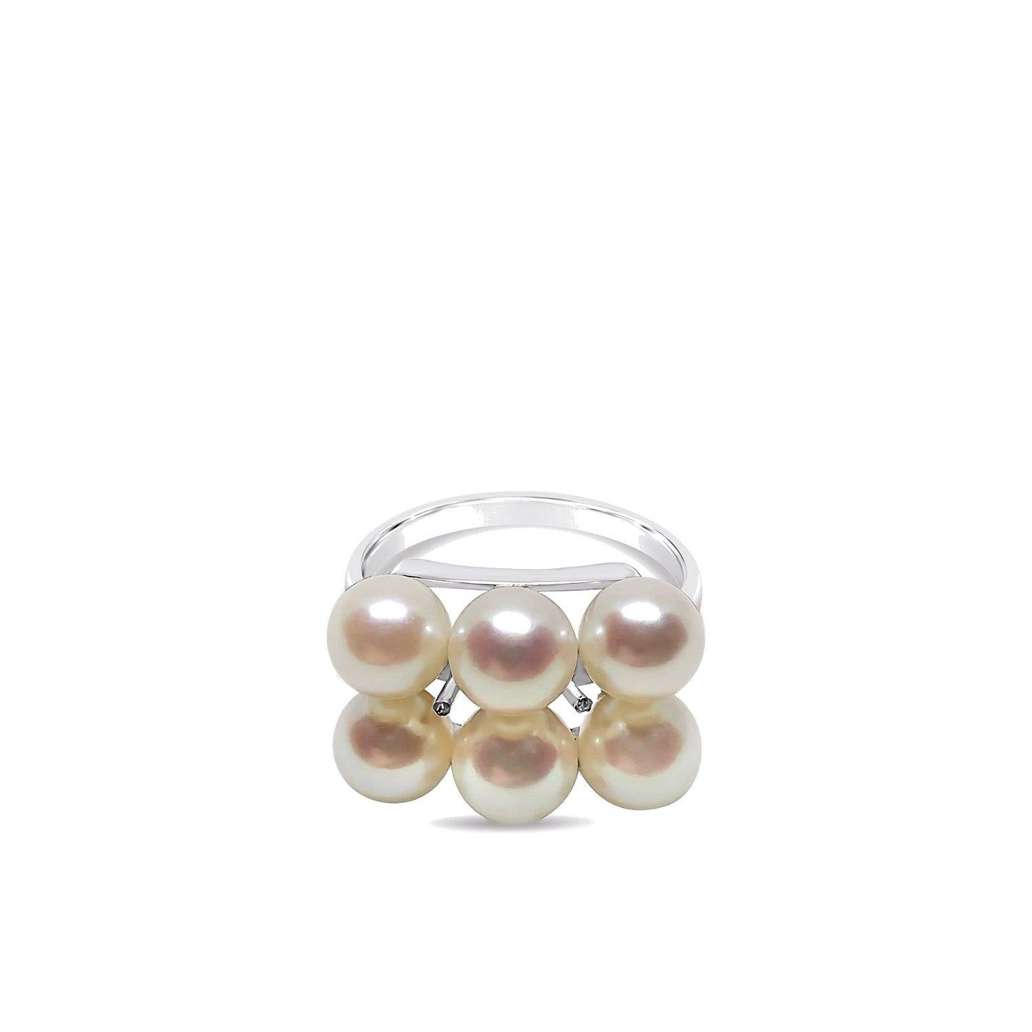 Double Row Japanese Saltwater Akoya Cultured Pearl Ring- Sterling Silver
